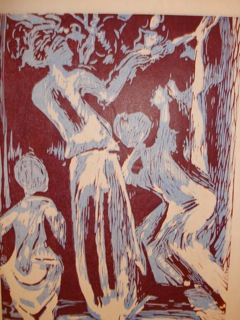 Woodblock print of dancers