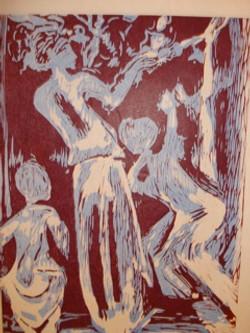 Woodblock print of dancers