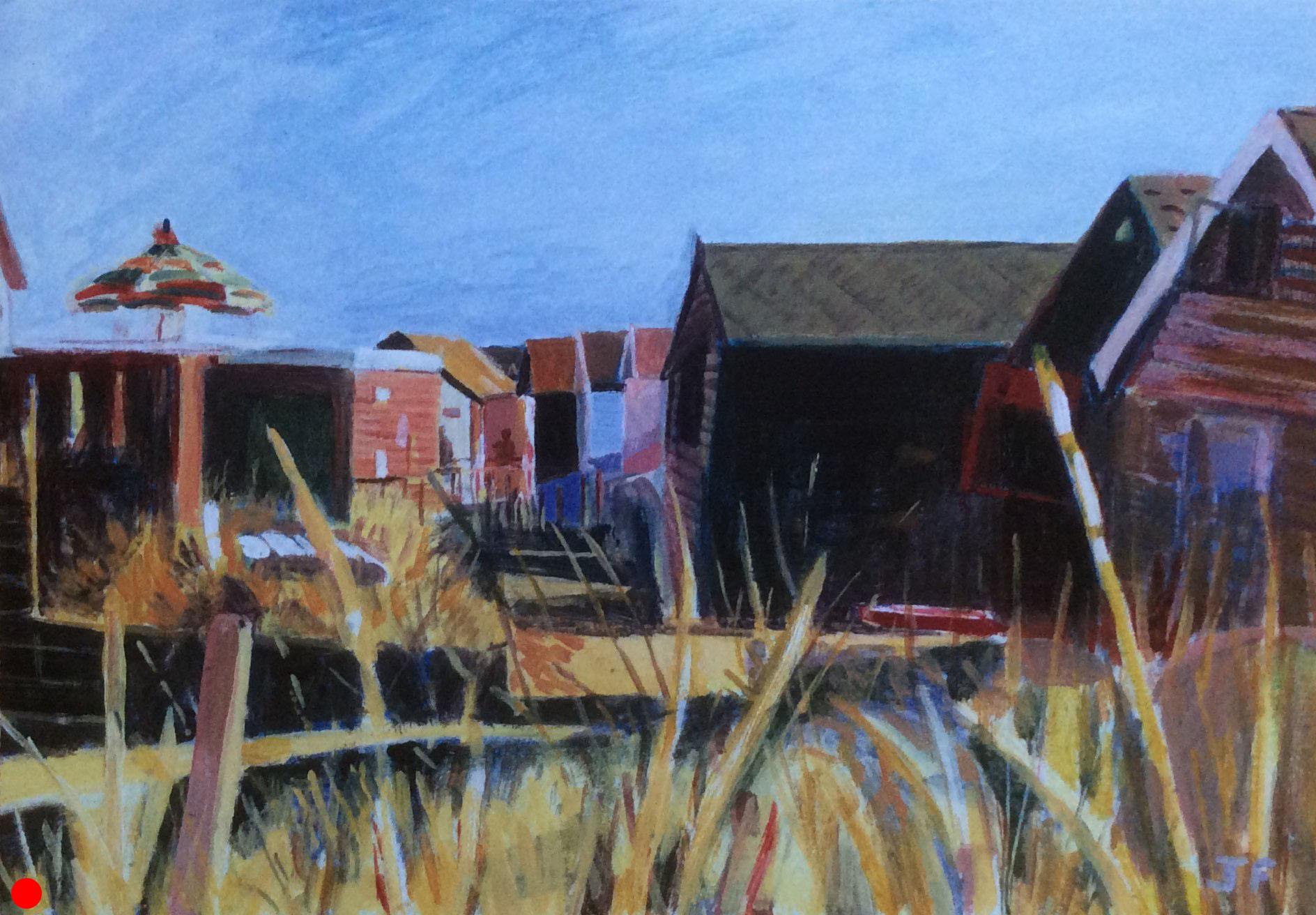Beach Huts at Mudeford acrylic SOLD