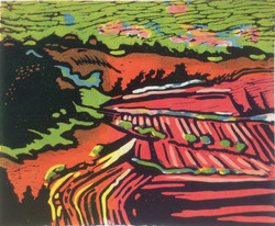 Fyfield Down 4 lino print 29x24