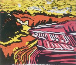 Fyfield Down 1 lino print 29x24