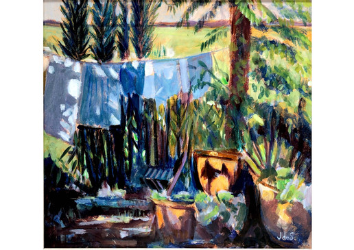 A French Washing Line 18.5x17 acrylic