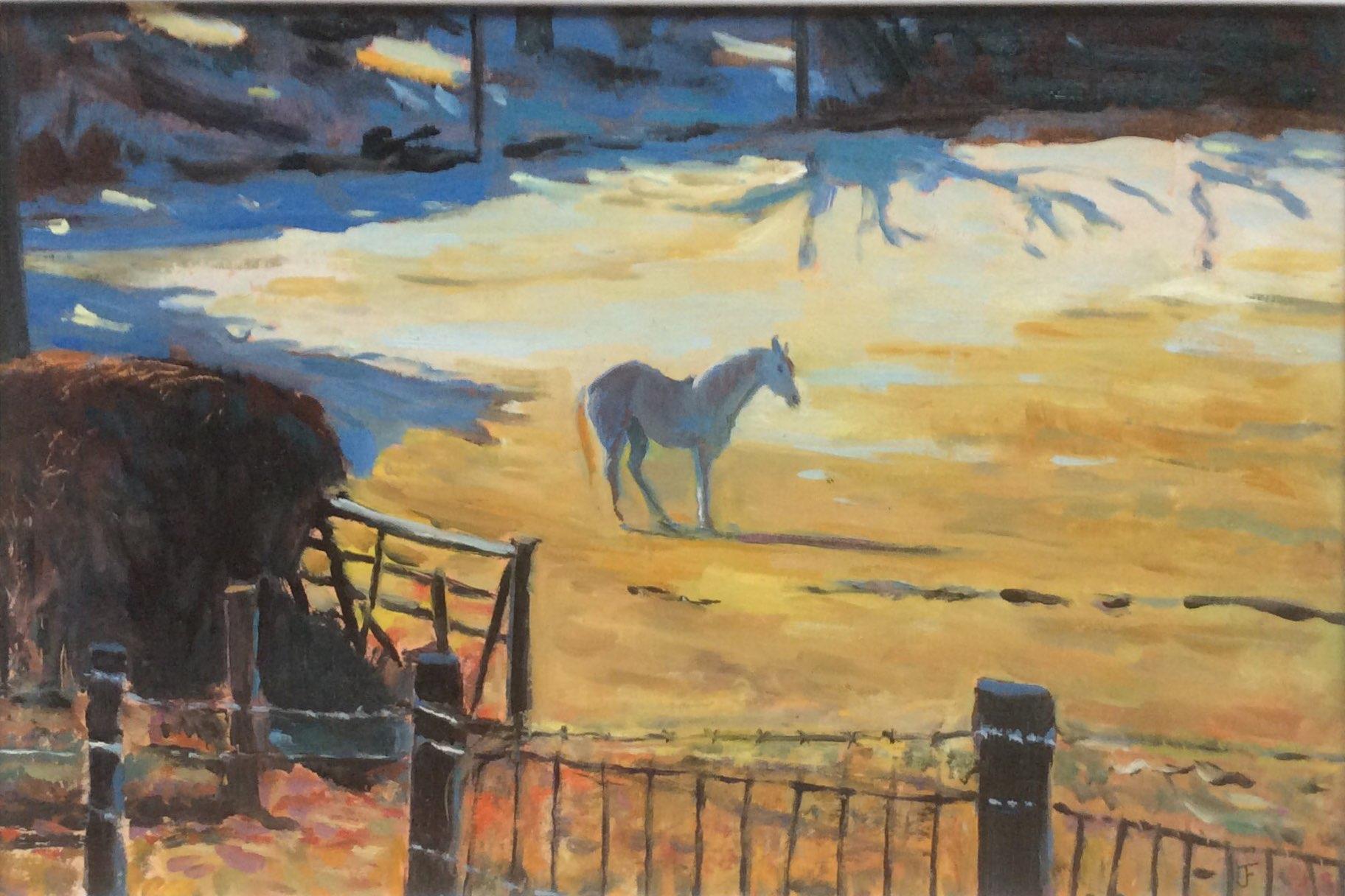 White horse oil 38.5x26.5