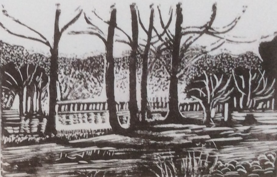 Bridge over Fonthill Lake wood engraving 11x7.5