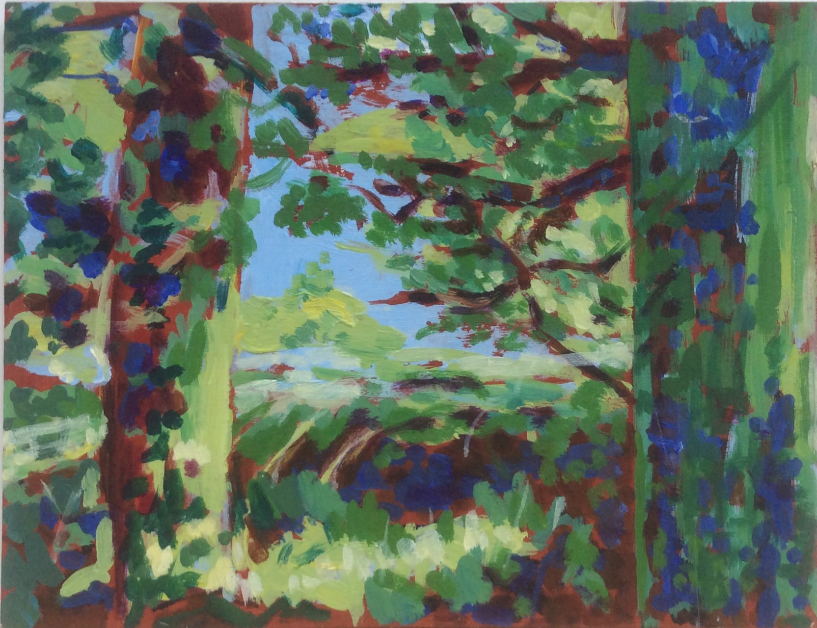 Green trees 2 oil 25x19