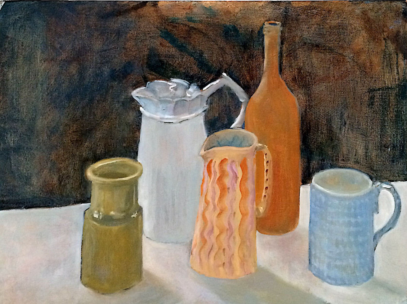 Still life jugs 2 oil 51.5x39