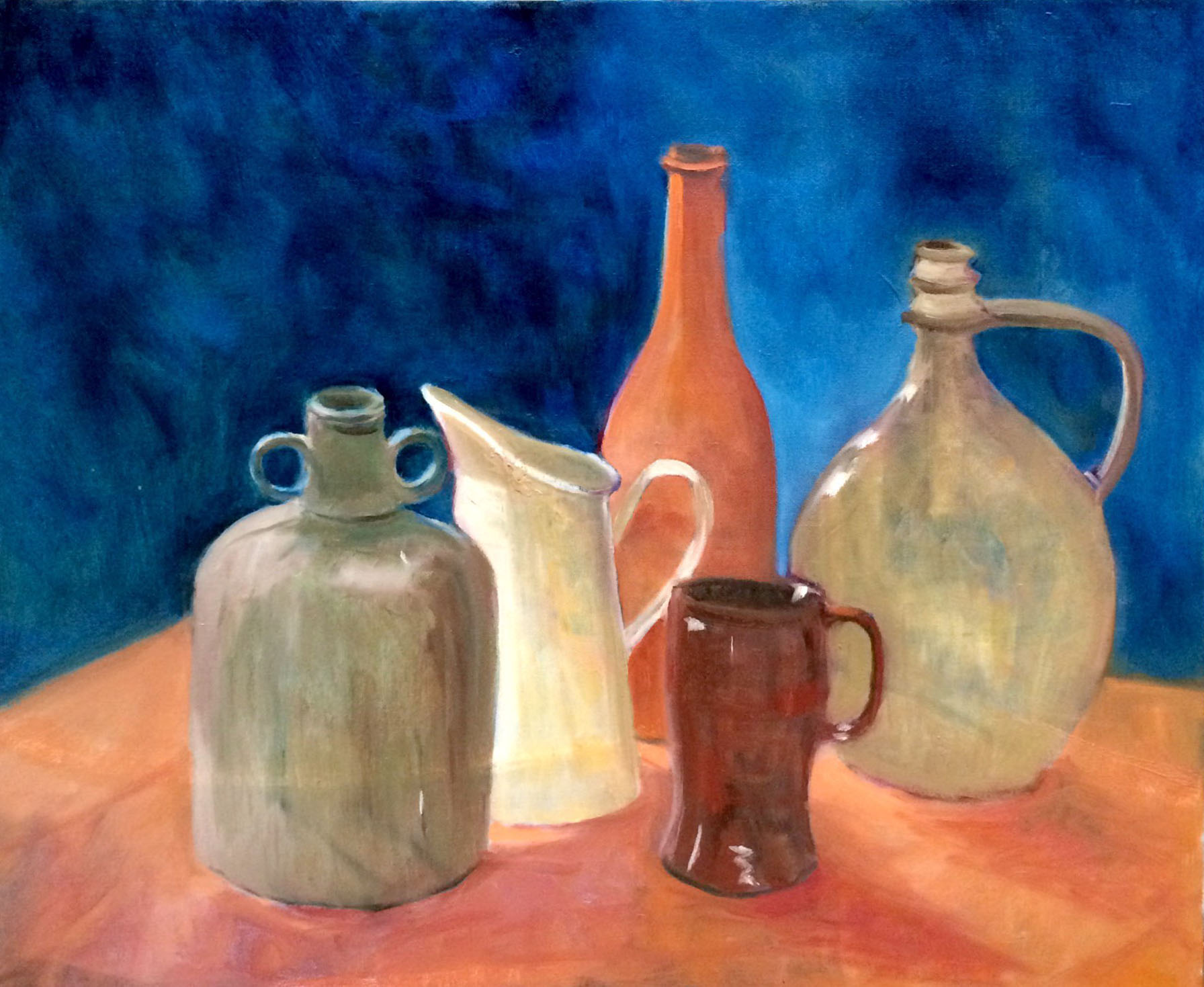 Still life jugs oil 60x50