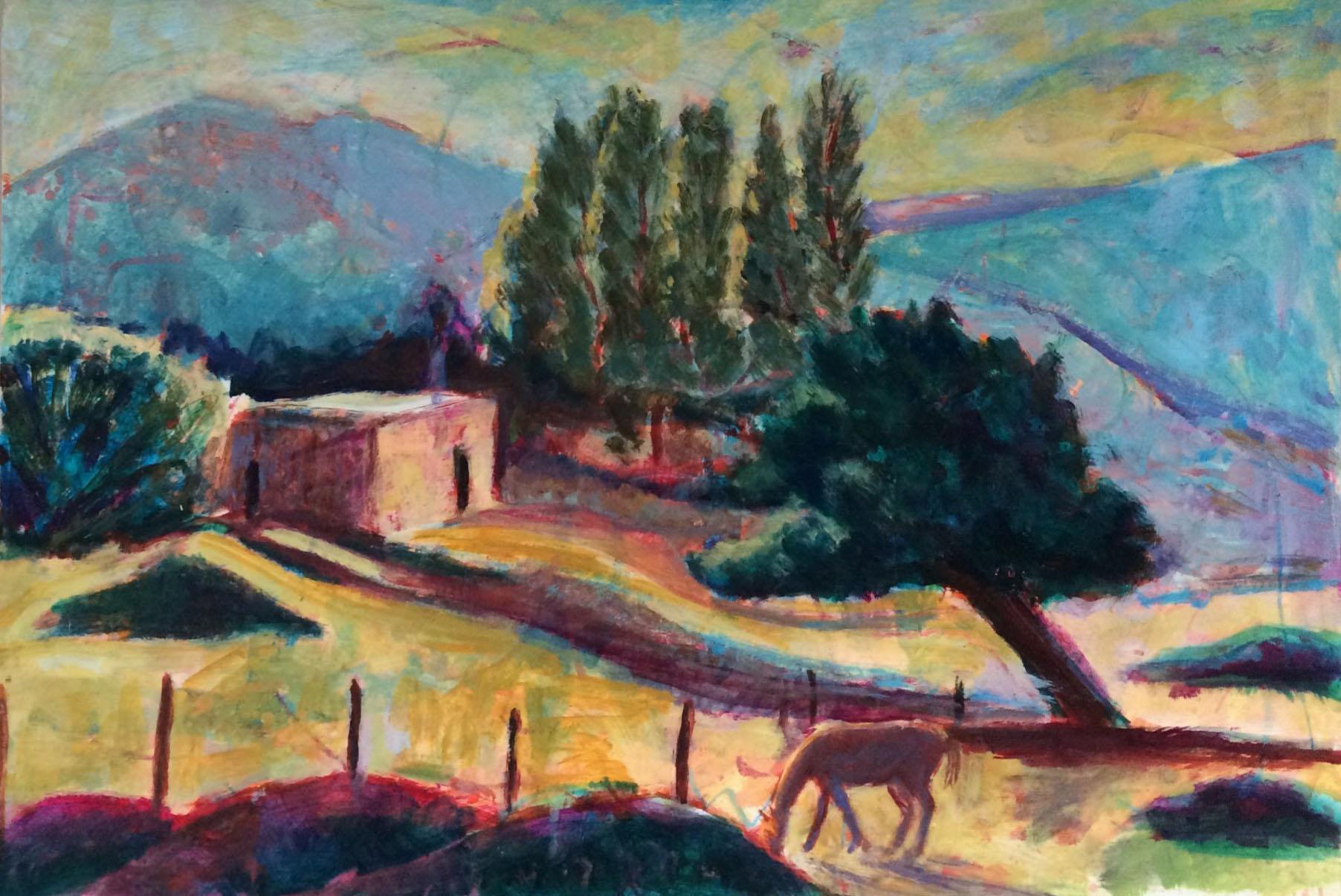 Greek landscape acrylic 71.5x49