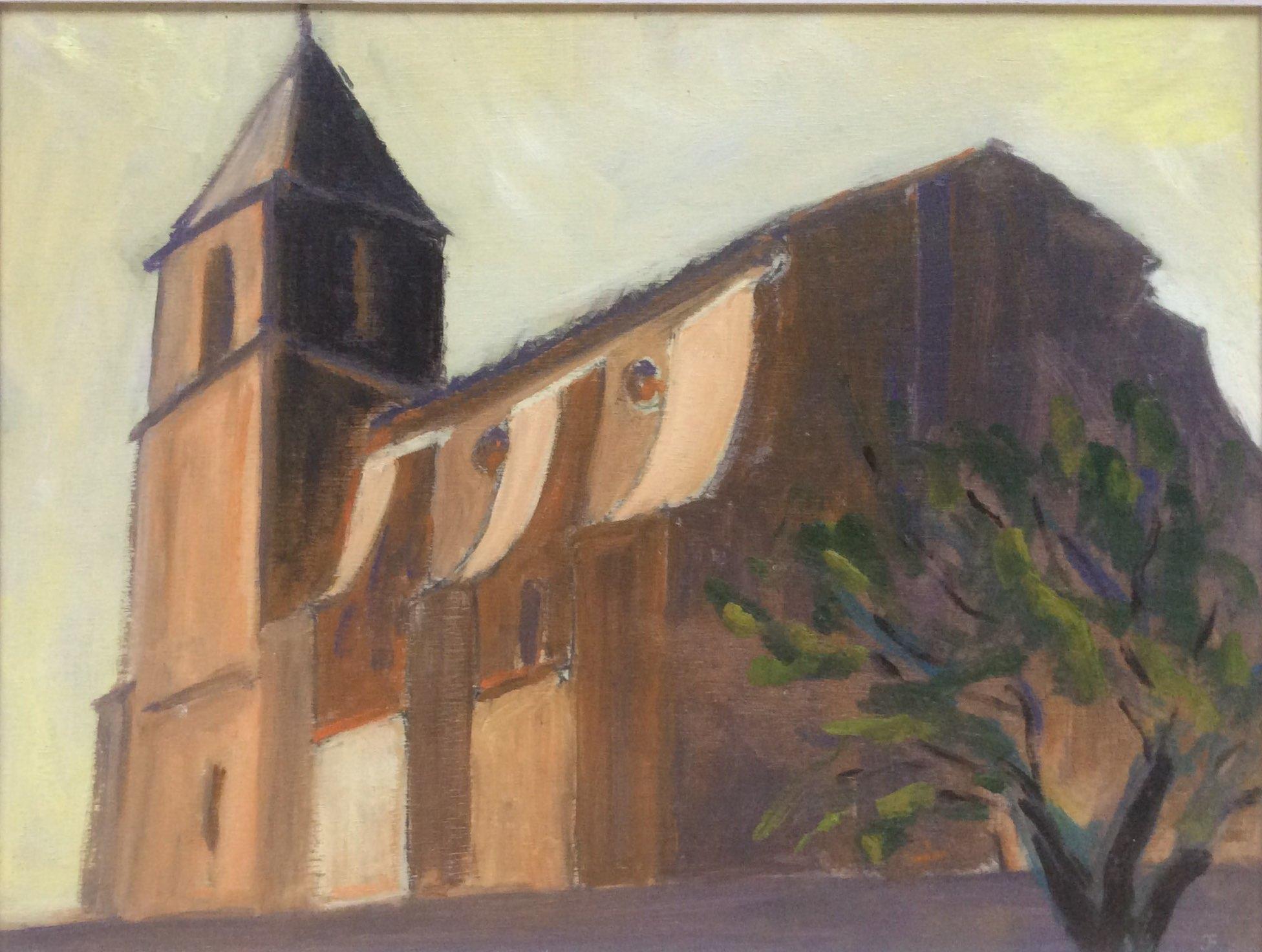 Church at Saignon Provence oil 45x34