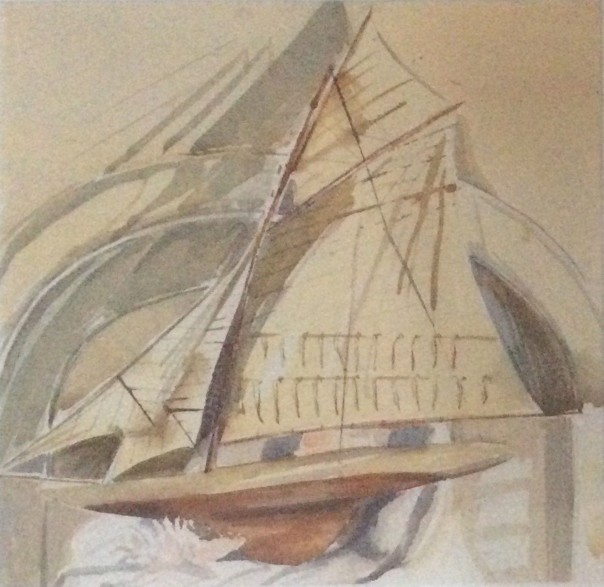 Yacht watercolour 24.5x23.5