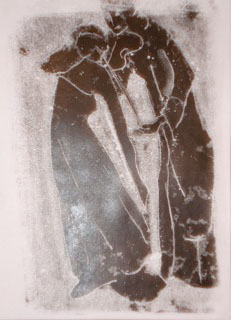 Monoprint black dancer & violinist 2