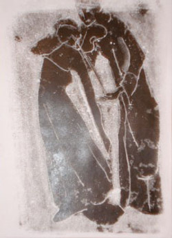 Monoprint black dancer & violinist 2