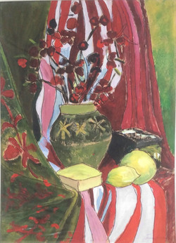 Red and green vase acrylic 43x61