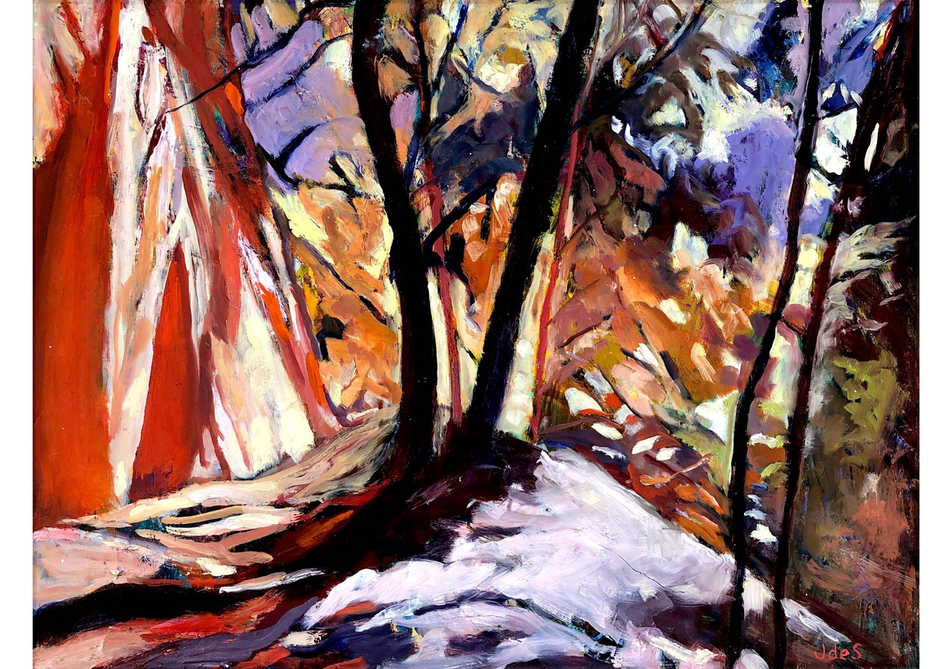 Trees on Fire 24x19 oil