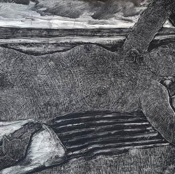"""Sunbathing"", 60x120cm, mixed media on board, 2017 (Price: 1.200)"