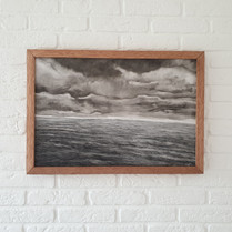 Small seascape with clouds, 65x75 cm, Oil on panel,  2020