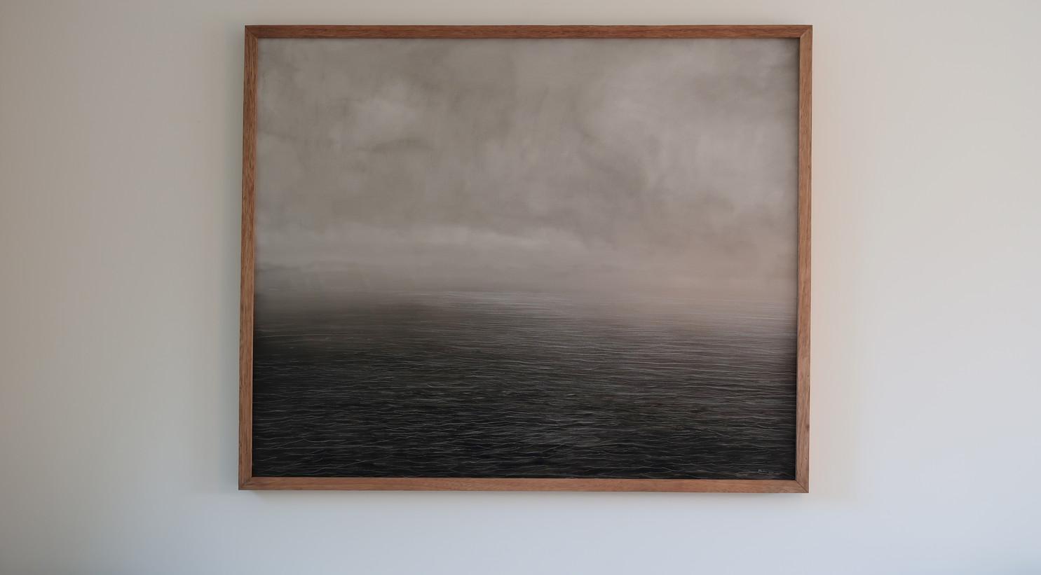Seascape in the midst, 100x120cm, oil on panel, framed, 2021