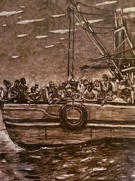 The migrants, 60x60cm, oil on board, 2017