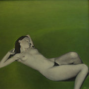 """Nude on gras"", 101x103cm, Oil on canvas, 2010 (Available)"