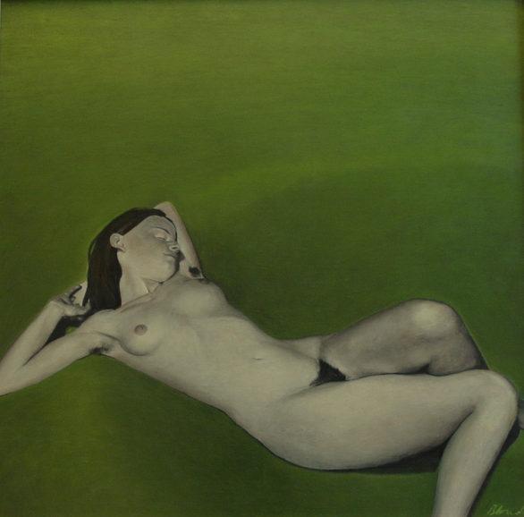 """Nude on gras"", 101x103cm, Oil on canvas,  2007"