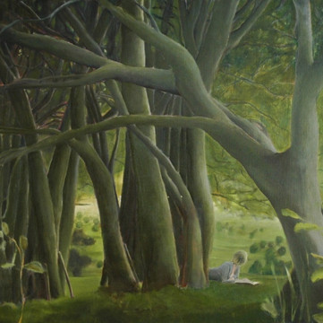 """Reading in the woods"", 90x110cm, Oil canvas, 2007, Private collection"