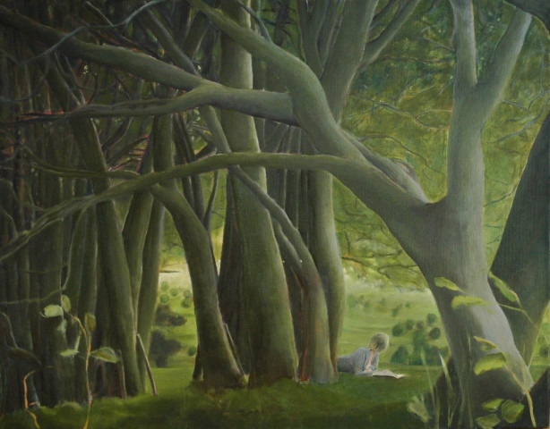 """""""Reading in the woods"""", 90x110cm, Oil canvas, 2007, Private collection"""