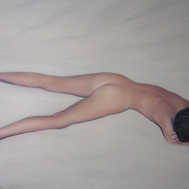 """Nude on sand"" ,100 x120 cm , Oil on canvas. 2003 (private colection)"