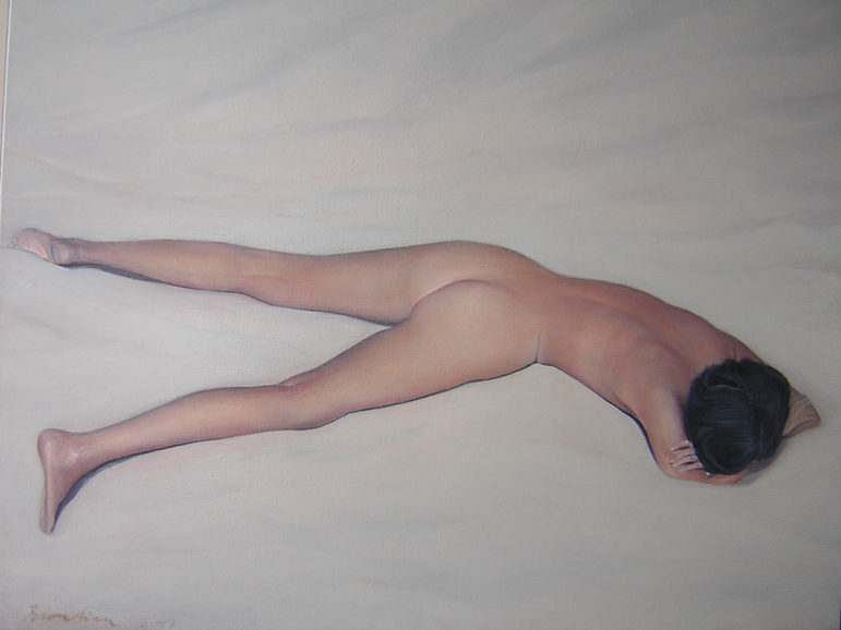 """""""Nude on sand"""" ,100 x120 cm , Oil on canvas. 2003 (private colection)"""
