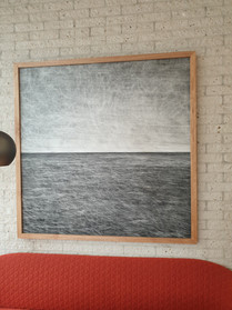 """""""Ocean One"""", Gouache on Board, 120x120cm, frame in meranti wood, 2021 (private collection)"""