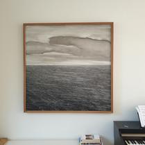 """""""Japanese seascape"""", 120x120cm, oil on panel, meranti frame, 2021"""