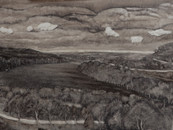 """Six clouds in Suffolk"", oil on board, 40 x 90 cm, 2018 (Price: 900 EUR)"