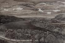"""""""Six clouds in Suffolk"""", oil on board, 40 x 90 cm, 2018"""