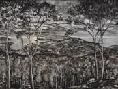 """Italian landscape"", 120 x 80 cm, mixed technique, 2018 (price: 1.100 EUR)"