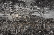 """""""Italian landscape"""", 120 x 80 cm, mixed technique, 2018"""
