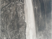 """""""Waterfall with deer"""", 61x122 cm, oil on board, 2021 (price upon request)"""