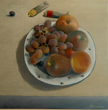 """""""Plate of Fruits"""", 90x90cm, Oil on Canvas, 2008"""