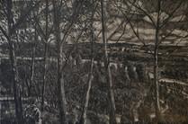 """Holzweg 5 - Looking back"", 40 x 60 cm, oil on board, 2020"