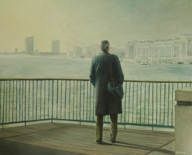 """""""Looking at Thames"""", 90x120cm, oil canvas, Private collection"""