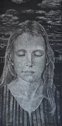 """Girl dreaming"""", 60x120 cm, mixed media on board, 2017"""