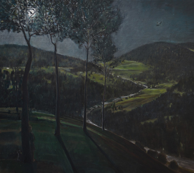 Landscape at Dusk, 90x90cm, oil on canvas, 2004, Private collection
