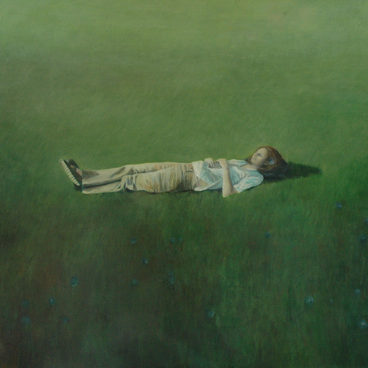 """Sleeping in field"" 120x150 cm Oil on canvas , 2003 (private collection)"
