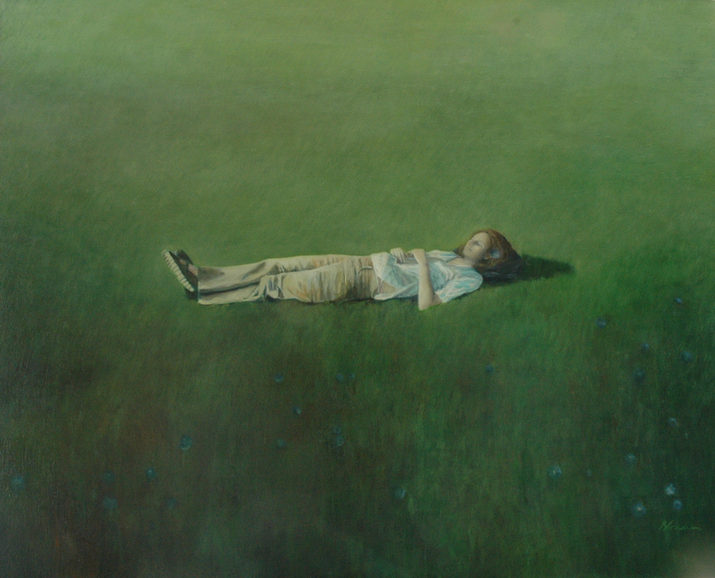 """""""Sleeping in field"""" 120x150 cm Oil on canvas , 2003 (private collection)"""