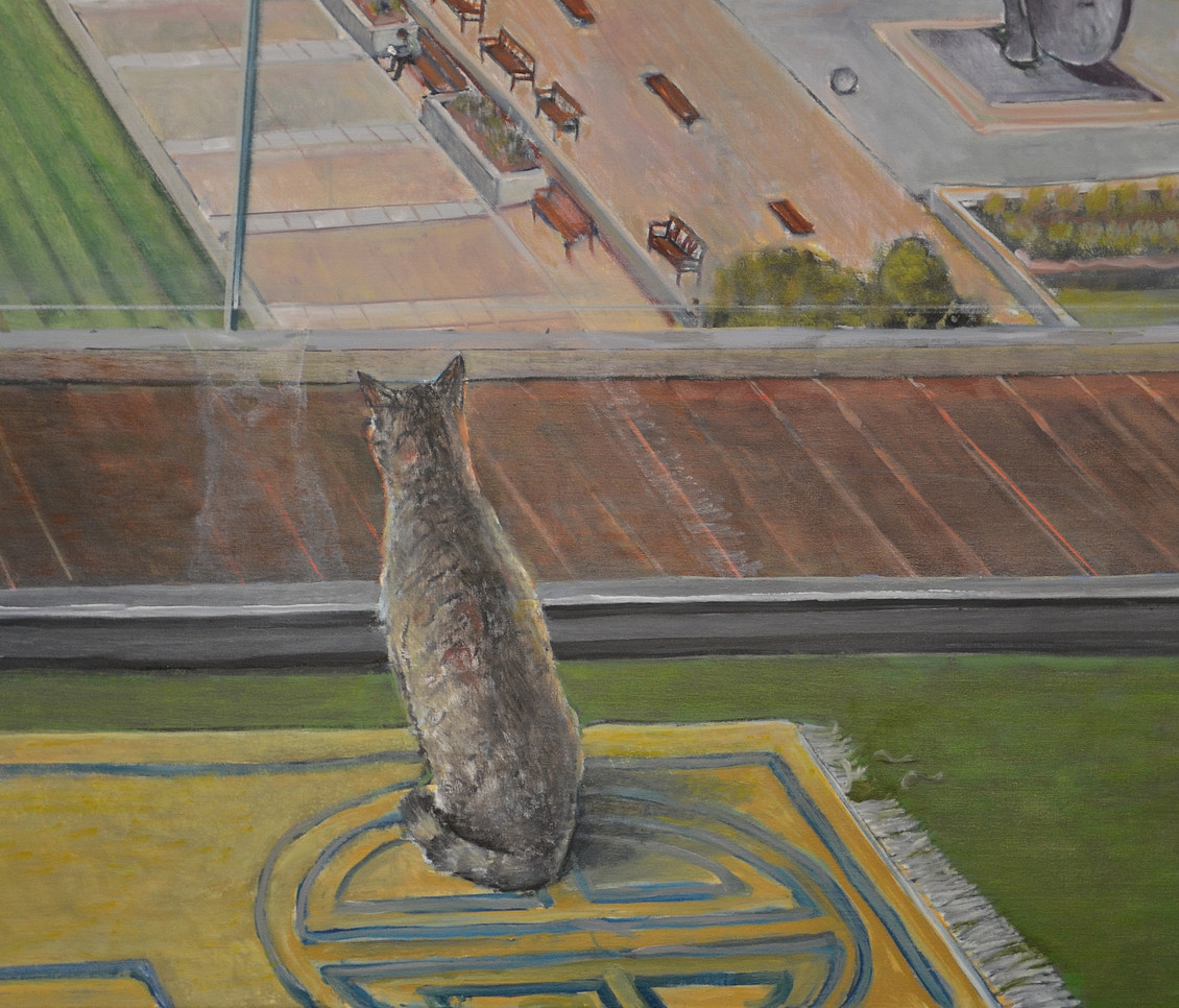 """""""Inside Outside"""", detail, cat after playing with the fringe of the carpet carpet"""