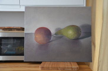 Peer and Apple, 50x60cm, Oil on Canvas, 2013