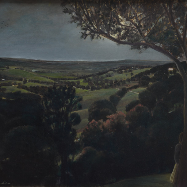 Woman looking at a landscape, 90x100 cm, Oil on canvas, 2008