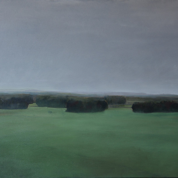 Morning landscape with trees, 50x90cm, Oil on canvas, 2016