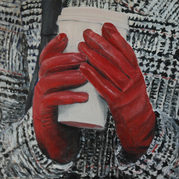 """The red gloves"" (2010)  42x50cm , Oil on canas, (private collection)"