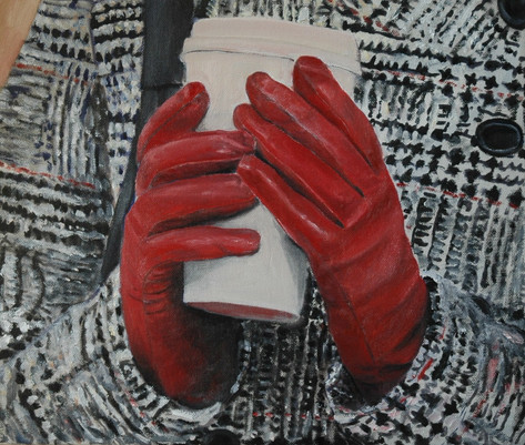 Red gloves; 40x50cm, oil, 2010