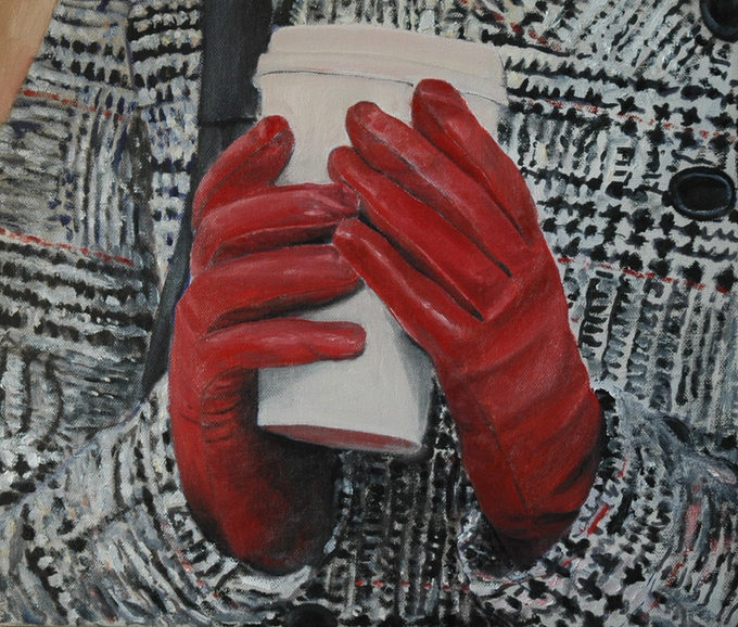 """""""The red gloves"""" (2010)  42x50cm , Oil on canas, (private collection)"""