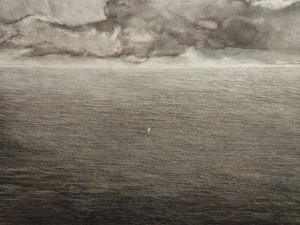 Seascape with sailing boat, 110 x 80cm, oil on board, 2019 (price: 1.500 EUR)
